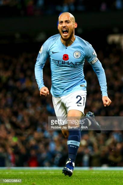 David Silva of Manchester City celebrates after scoring a goal to make it 10 during the Premier League match between Manchester City and Manchester...
