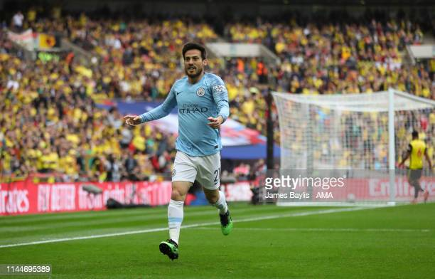 David Silva of Manchester City celebrates after scoring a goal to make it 10 during the FA Cup Final match between Manchester City and Watford at...