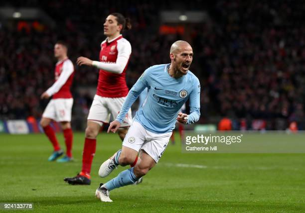 David Silva of Manchester City celebrates after scoring his sides third goal during the Carabao Cup Final between Arsenal and Manchester City at...