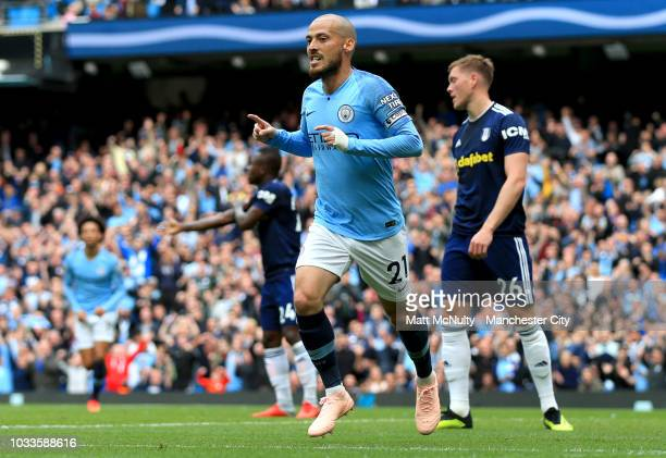 David Silva of Manchester City celebrates after scoring his team's second goal during the Premier League match between Manchester City and Fulham FC...