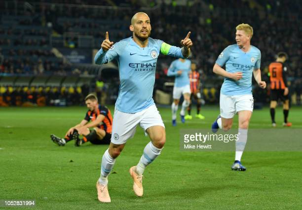 David Silva of Manchester City celebrates after scoring his team's first goal during the Group F match of the UEFA Champions League between FC...