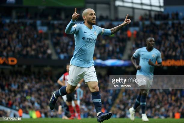 David Silva of Manchester City celebrates after scoring his team's third goal during the Premier League match between Manchester City and Southampton...