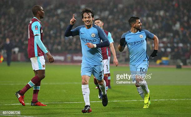 David Silva of Manchester City celebrates after scoring to make it 03 during the Emirates FA Cup Third Round match between West Ham United and...