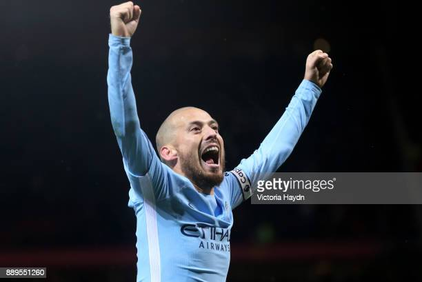David Silva of Manchester City celebrates after the Premier League match between Manchester United and Manchester City at Old Trafford on December 10...