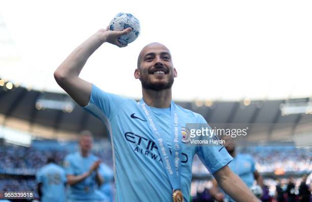 David Silva of Manchester City celebrates after the Premier League match between Manchester City and Huddersfield Town at Etihad Stadium on May 6...