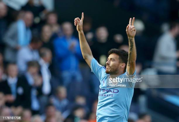 David Silva of Manchester City celebrates as he scores his team's first goal during the Premier League match between Manchester City and Watford FC...