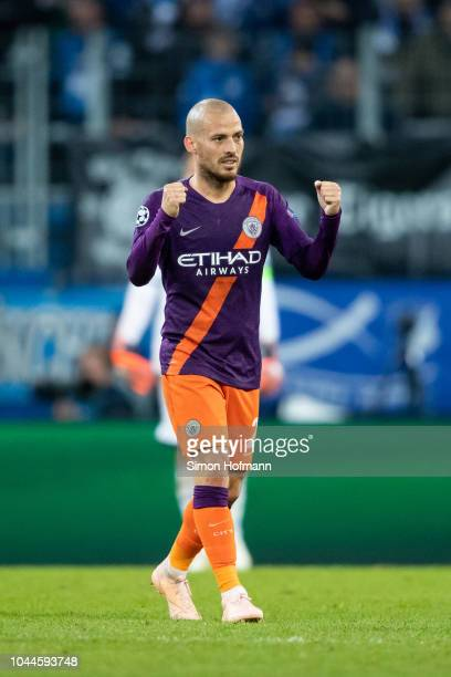 David Silva of Manchester City celebrates his team's second goal during the Group F match of the UEFA Champions League between TSG 1899 Hoffenheim...
