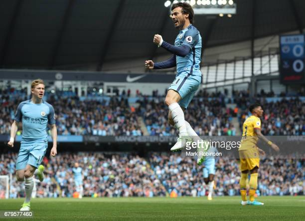 David Silva of Manchester City celebrates scoring his sides first goal during the Premier League match between Manchester City and Crystal Palace at...