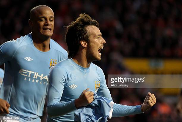 David Silva of Manchester City celebrates scoring his team's third goal during the Barclays Premiership match between Blackpool and Manchester City...