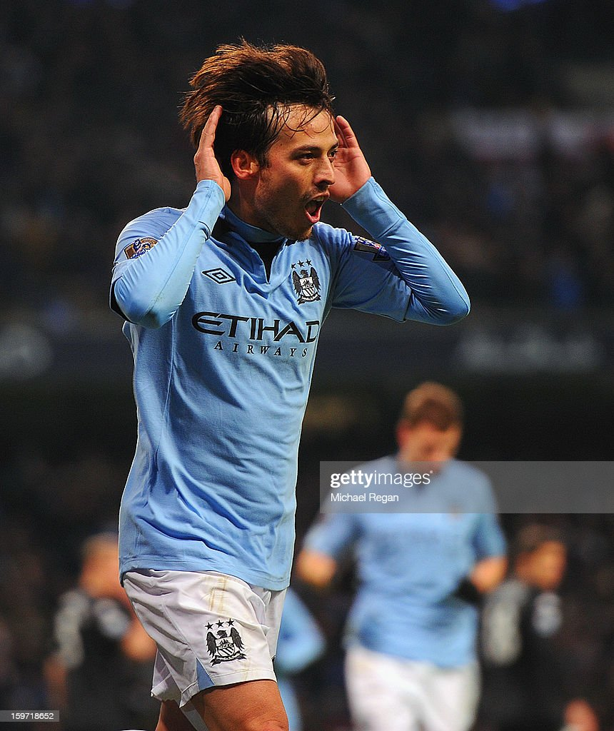 David Silva of Manchester City celebrates scoring to make it 2-0 during the Barlcays Premier League match between Manchester City and Fulham at the Etihad Stadium on January 19, 2013 in Manchester, England.