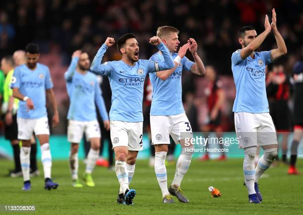David Silva of Manchester City celebrates victory after the Premier League match between AFC Bournemouth and Manchester City at Vitality Stadium on...