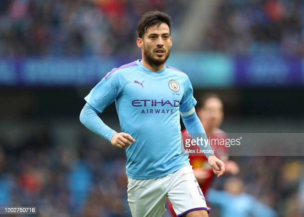 David Silva of Manchester City during the FA Cup Fourth Round match between Manchester City and Fulham at Etihad Stadium on January 26, 2020 in...