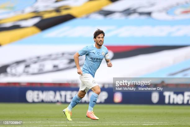 David Silva of Manchester City during the FA Cup Semi Final match between Arsenal and Manchester City at Wembley Stadium on July 18 2020 in London...