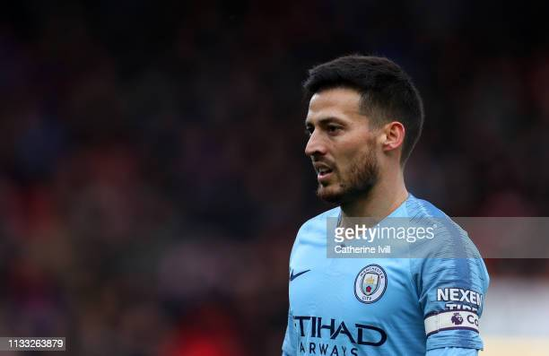 David Silva of Manchester City during the Premier League match between AFC Bournemouth and Manchester City at Vitality Stadium on March 02 2019 in...