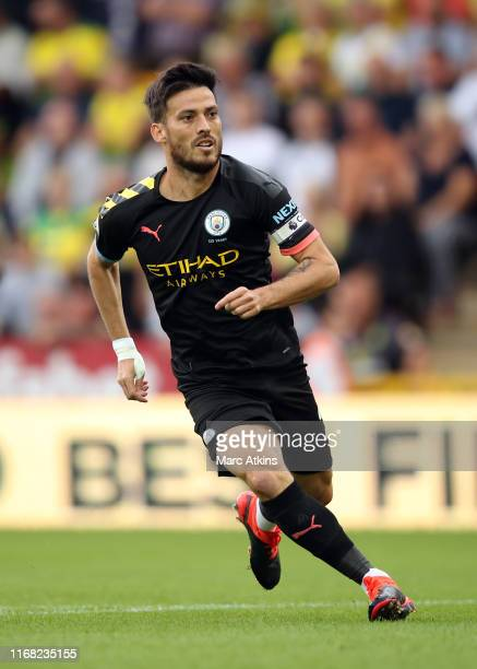 David Silva of Manchester City during the Premier League match between Norwich City and Manchester City at Carrow Road on September 14, 2019 in...