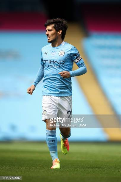 David Silva of Manchester City during the Premier League match between Manchester City and Norwich City at Etihad Stadium on July 26 2020 in...