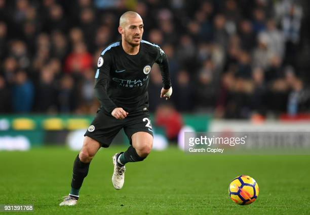 David Silva of Manchester City during the Premier League match between Stoke City and Manchester City at Bet365 Stadium on March 12 2018 in Stoke on...