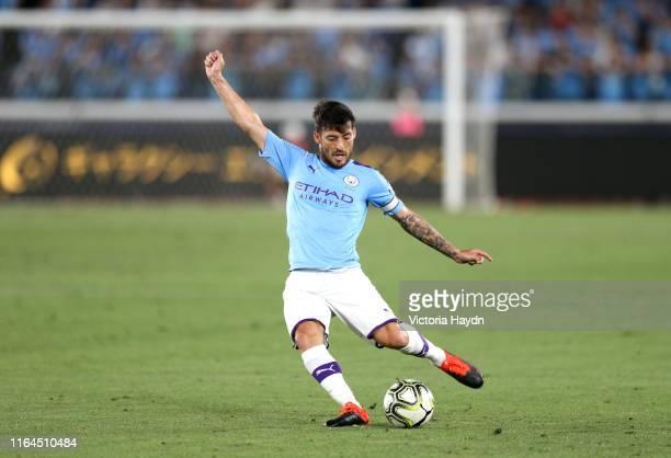 David Silva of Manchester City during the preseason friendly match between Yokohama FMarinos and Manchester City at Nissan Stadium on July 27 2019 in...
