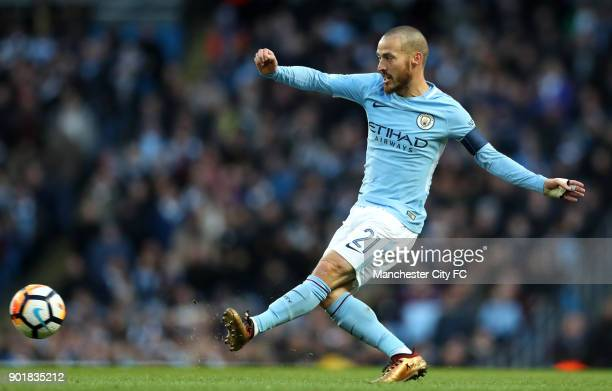 David Silva of Manchester City during the The Emirates FA Cup Third Round match between Manchester City and Burnley at Etihad Stadium on January 6...