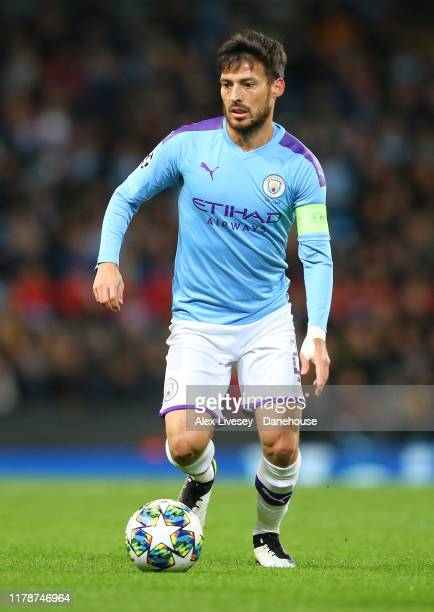 David Silva of Manchester City during the UEFA Champions League group C match between Manchester City and Dinamo Zagreb at Etihad Stadium on October...