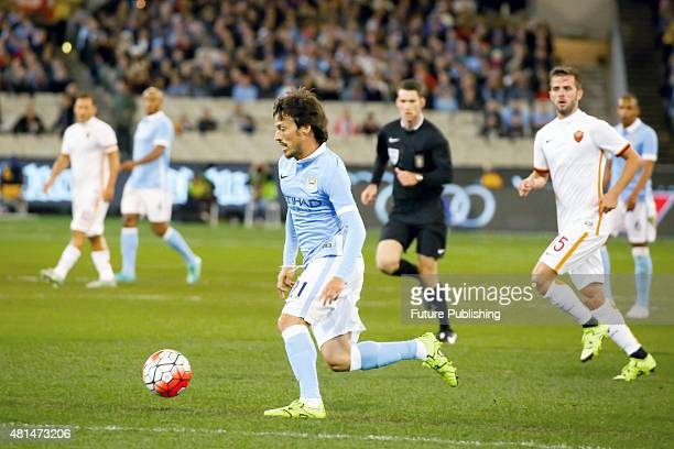 David Silva of Manchester City in action against AS Roma in match 2 of the 2015 International Champions Cup on July 21 2015 in Melbourne Australia...