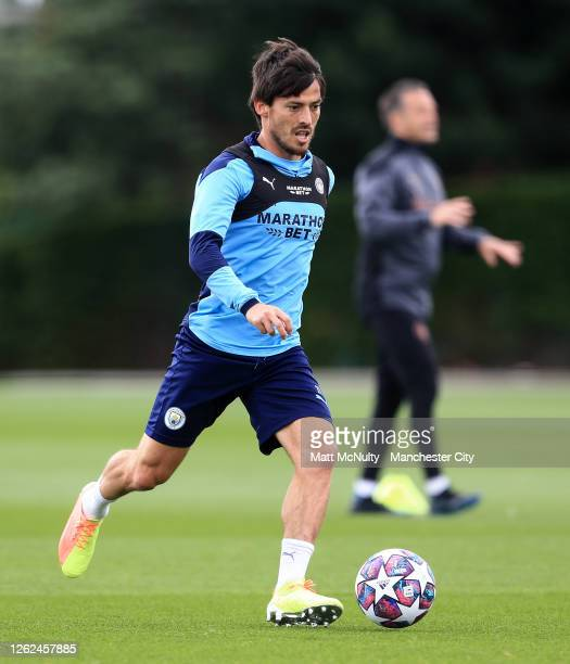 David Silva of Manchester City in action during a training session at Manchester City Football Academy on July 29 2020 in Manchester England