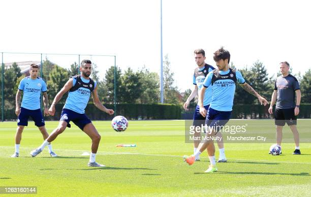 David Silva of Manchester City in action during a training session at Manchester City Football Academy on July 31 2020 in Manchester England