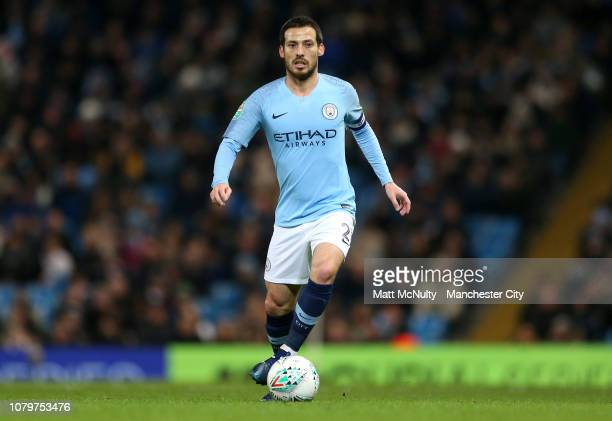 David Silva of Manchester City in action during the Carabao Cup Semi Final First Leg match between Manchester City and Burton Albion at Etihad...
