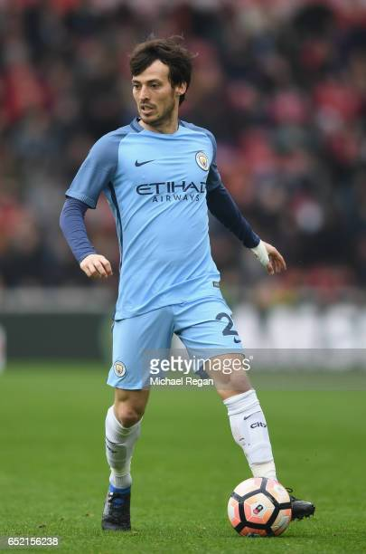 David Silva of Manchester City in action during The Emirates FA Cup QuarterFinal match between Middlesbrough and Manchester City at Riverside Stadium...