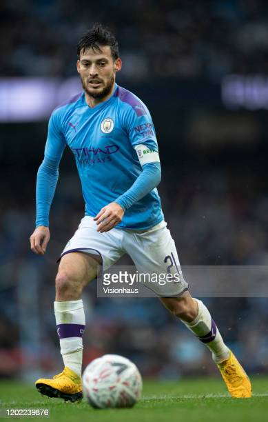 David Silva of Manchester City in action during the FA Cup Fourth Round match between Manchester City and Fulham at Etihad Stadium on January 26,...