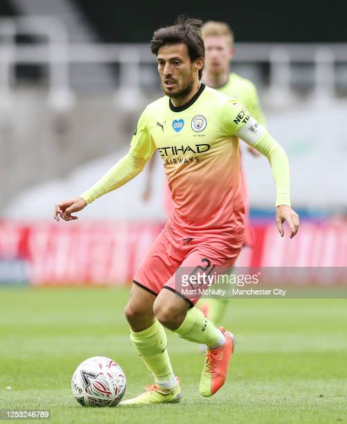 David Silva of Manchester City in action during the FA Cup Quarter Final match between Newcastle United and Manchester City at St James Park on June...