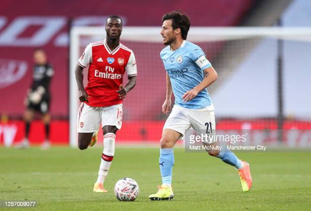 David Silva of Manchester City in action during the FA Cup Semi Final match between Arsenal and Manchester City at Wembley Stadium on July 18 2020 in...