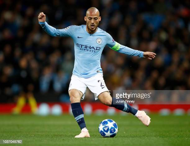 David Silva of Manchester City in action during the Group F match of the UEFA Champions League between Manchester City and Olympique Lyonnais at...