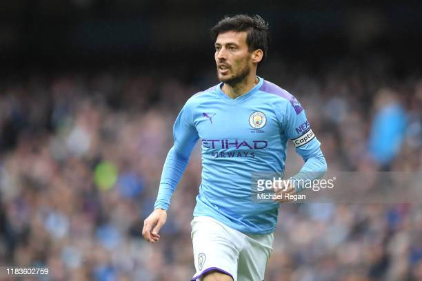 David Silva of Manchester City in action during the Premier League match between Manchester City and Aston Villa at Etihad Stadium on October 26,...