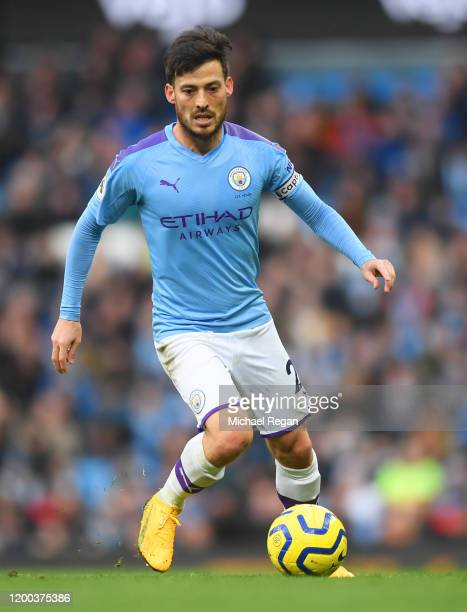 David Silva of Manchester City in action during the Premier League match between Manchester City and Crystal Palace at Etihad Stadium on January 18,...