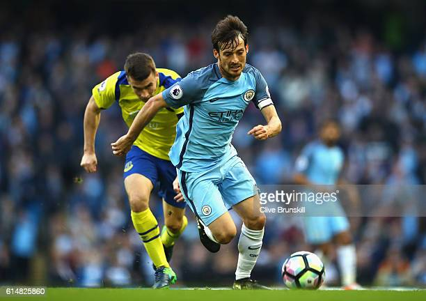 David Silva of Manchester City in action during the Premier League match between Manchester City and Everton at Etihad Stadium on October 15 2016 in...