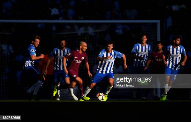 David Silva of Manchester City in action during the Premier League match between Brighton and Hove Albion and Manchester City at the Amex Stadium on...