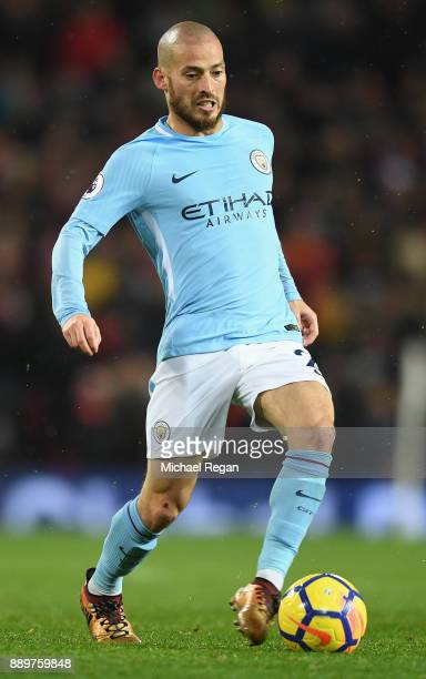 David Silva of Manchester City in action during the Premier League match between Manchester United and Manchester City at Old Trafford on December 10...