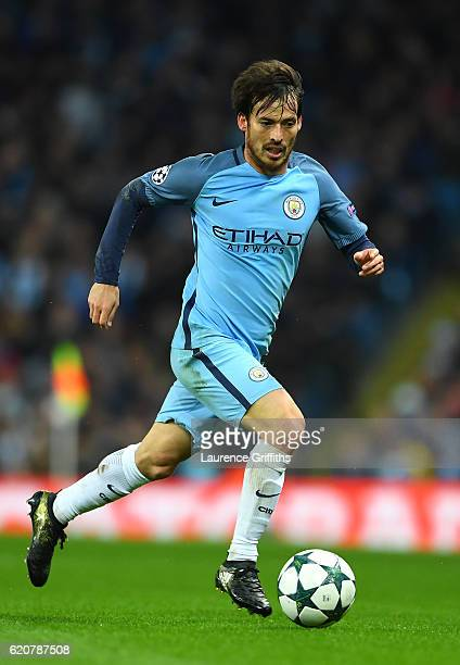 David Silva of Manchester City in action during the UEFA Champions League match between Manchester City FC and FC Barcelona at Etihad Stadium on...