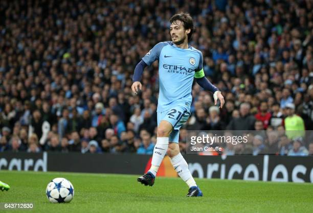 David Silva of Manchester City in action during the UEFA Champions League Round of 16 first leg match between Manchester City FC and AS Monaco at...