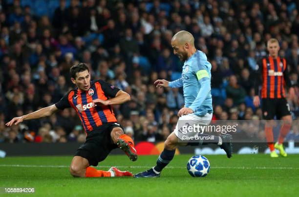 David Silva of Manchester City is fouled and a penalty is awarded to Manchester City during the Group F match of the UEFA Champions League between...