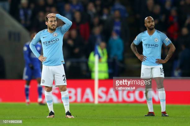 David Silva of Manchester City looks dejected after Leicester City score there second goal during the Premier League match between Leicester City and...