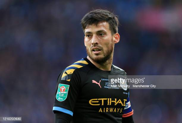 David Silva of Manchester City looks on during the Carabao Cup Final between Aston Villa and Manchester City at Wembley Stadium on March 01 2020 in...