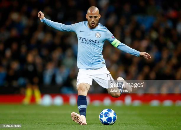 David Silva of Manchester City passes the ball during the Group F match of the UEFA Champions League between Manchester City and Olympique Lyonnais...