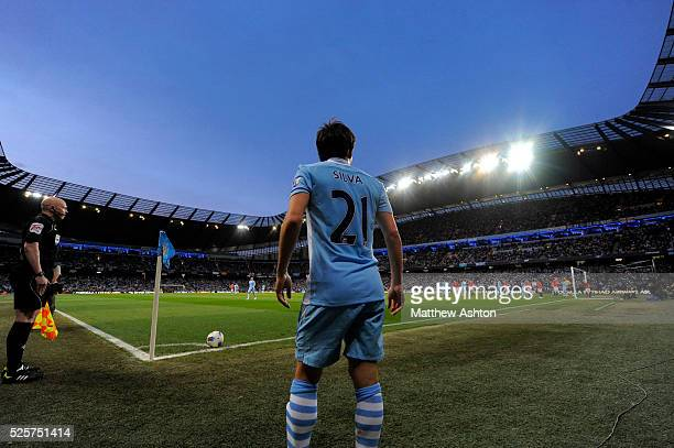 David Silva of Manchester City prepares to take the corner kick which resulted in the winning goal at The Ethiad Stadium home stadium of Manchester...