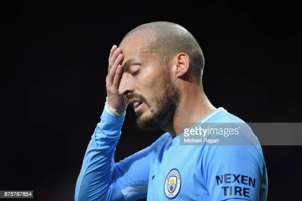 David Silva of Manchester City reacts during the Premier League match between Leicester City and Manchester City at The King Power Stadium on...