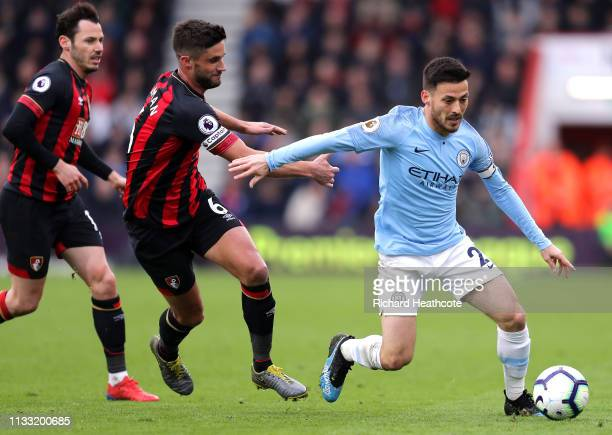 David Silva of Manchester City runs with the ball during the Premier League match between AFC Bournemouth and Manchester City at Vitality Stadium on...