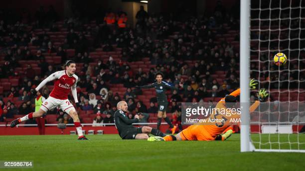 David Silva of Manchester City scores a goal to make it 02 during the Premier League match between Arsenal and Manchester City at Emirates Stadium on...