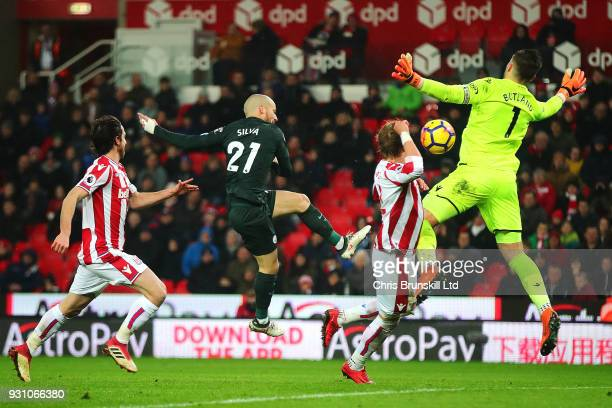 David Silva of Manchester CIty scores his side's second goal during the Premier League match between Stoke City and Manchester City at Bet365 Stadium...