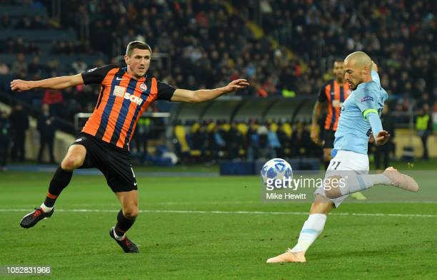 David Silva of Manchester City scores his team's first goal during the Group F match of the UEFA Champions League between FC Shakhtar Donetsk and...